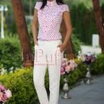Pantaloni dama albi conici