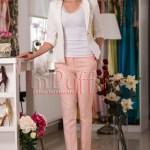 Pantaloni dama roz conici