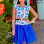 Rochie Adelina Albastra cu Imprimeuri Florale