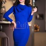 Rochie albastra trei sferturi mulata