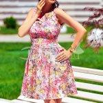 Rochie Anais cu Imprimeuri Roz