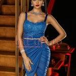 Rochie de seara albastra din dantela si tul