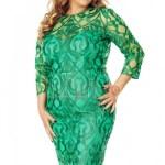 Rochie de seara midi conica verde smarald plus size