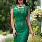 Rochie de seara verde dantela brodata paietata