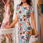 Rochie de vara midi conica cu imprimeu