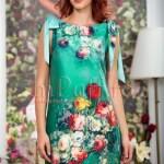 Rochie de vara verde cu imprimeu floral