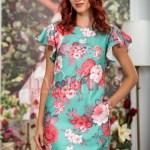 Rochie de vara verde din in cu imprimeu floral