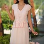 Rochie eleganta de vara din voal fin roz pal