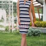 Rochie eleganta de zi cu dungi bleumarin