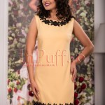 Rochie eleganta galben pal cu aplicatii brodate