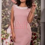 Rochie eleganta roz prafuit cu aplicatii brodate