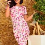 Rochie Erica Midi cu Imprimeu Floral Roz
