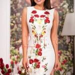 Rochie ivoire din brocard cu broderie florala