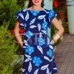 Rochie Create Bleumarin cu Buzunare