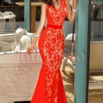 Rochie lunga bistrech rosu si dantela