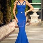 Rochie lunga cu trena albastra