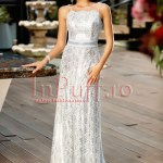 Rochie lunga de seara cu spatele gol din dantela argintie