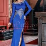 Rochie lunga lycra albastra cu broderie aurie aplicata manual