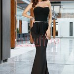 Rochie lunga neagra si volan in talie