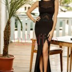 Rochie lunga neagra tip sirena lycra si broderie