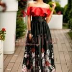 Rochie lunga rosu cu negru pe umeri cu imprimeu floral