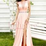 Rochie lunga roz pal cu despicatura
