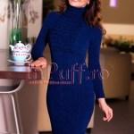 Rochie midi bleumarin din tricot cu volane si guler pe gat