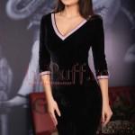 Rochie midi catifea neagra cu aplicatii de strasuri