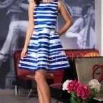 Rochie midi cu dungi albastre