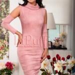 Rochie midi imitatie piele intoarsa roz prafuit