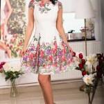 Rochie midi ivoire cu imprimeu floral