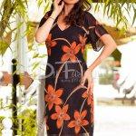 Rochie Moze Alesia cu Flori Oranj din Voal