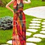 Rochie Moze Haven Lunga din Voal Verde Oranj