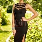 Rochie neagra eleganta din bistrech cu insertii din dantela