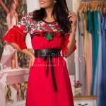 Rochie rosie lejera cu model brodat