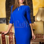 Rochie scurta albastra cu maneca trei sferturi