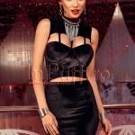 Rochie scurta neagra de catifea