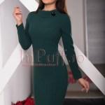 Rochie trei sferturi verde inchis cu maneca lunga