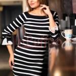 Rochie tricotata cu dungi alb-negru si fundite la maneci