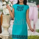 Rochie turquoise eleganta cu broderie pe piept