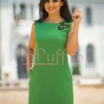 Rochie verde eleganta cu fluturasi negri si buzunare