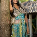 Rochie voal turquoise si bej