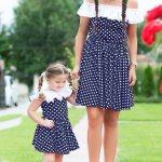 Rochii Mama Fiica – Set Minnie Bleumarin 167 Lei