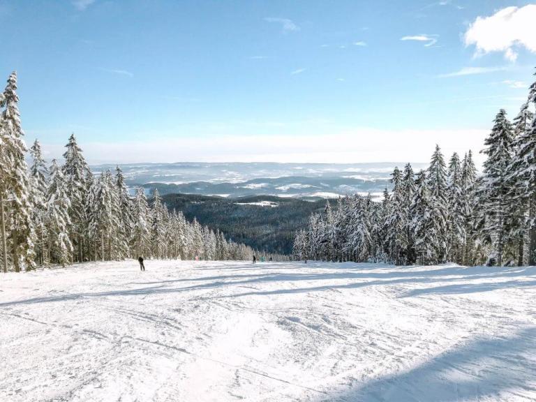 A day trip from Prague, skiing in Janske Lazne, Czech Republic.