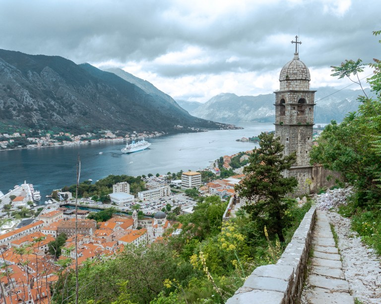 View from the wall hike in Kotor, Montenegro.