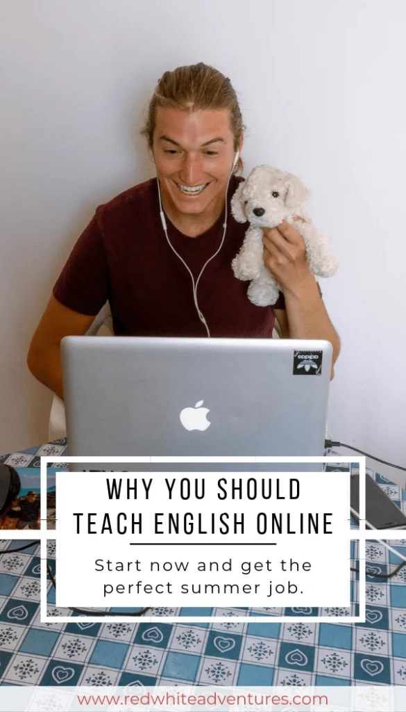 Pin for Pinterest of teaching ESL from home.
