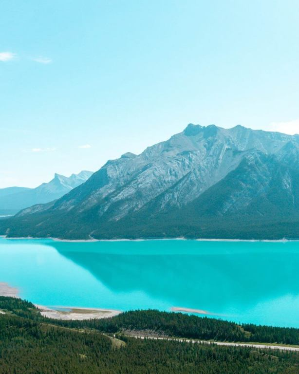 The water is so blue in Abraham Lake.