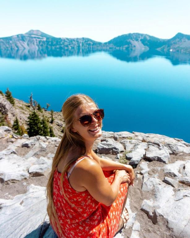 Jo and Crater Lake in Oregon.