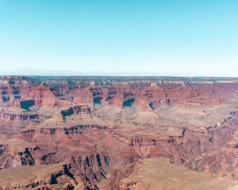 Hiking the Rim Trail in the Grand Canyon in Arizona.