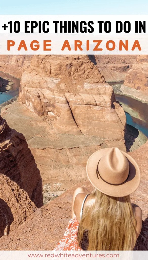 Pin with an image of Horseshoe Bend which is one of the page az attracitons